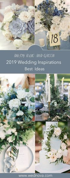 36+ AWESOME IDEAS TO HAVE A GREENERY-BASED WEDDING WITH DUSTY BLUE - WedNova Blog White Wedding Flowers, Summer Wedding Bouquets, Summer Wedding Colors, Blue Wedding Dresses, Spring Wedding, Wedding Greenery, Outdoor Wedding Centerpieces, Green Wedding Decorations, Table Decorations