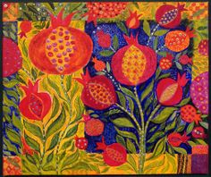 Chanan Mazal - Carpet of Pomegranates - such talent! Art And Illustration, Pomegranate Art, Pomegranate Pictures, Words On Canvas, Colorful Quilts, Jewish Art, Fruit Art, Naive Art, Art Blog