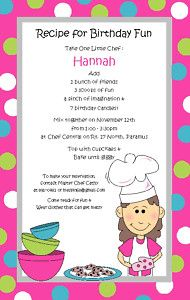 Chef Girl Invitation Birthday Party Baking Cooking Kids