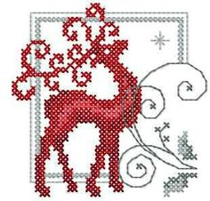 Embroidery Stitches Designs Deer cross stitch free embroidery design - Cross stitch machine embrodiery… More - Xmas Cross Stitch, Cross Stitch Christmas Ornaments, Cross Stitch Fabric, Cross Stitch Charts, Cross Stitch Designs, Cross Stitching, Cross Stitch Embroidery, Cross Stitch Patterns, Border Embroidery