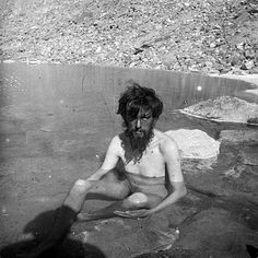 "English occultist, poet, and novelist Aleister Crowley bathing in a spring on the lower Baltoro Glacier during his expedition to climb in the Himalayas, 1902 [[MORE]] "" Aleister Crowley (born Edward Alexander Crowley;"