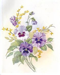 Pansy is the favorite flower of decoupage artists PaGi Decoplage Art Floral, Floral Prints, Botanical Flowers, Botanical Prints, Watercolor Flowers, Watercolor Paintings, Tattoo Fleur, China Painting, Pictures To Paint