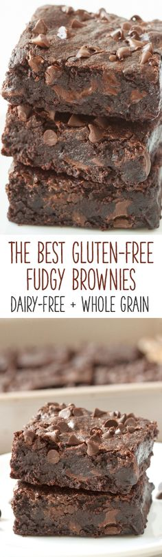 Fudgy, gooey, and incredibly easy to make, these really are the best gluten-free brownies! They can also be made with whole wheat for a non-GF version (Vegan Gluten Free Brownies) Gluten Free Deserts, Gluten Free Brownies, Gluten Free Sweets, Foods With Gluten, Gluten Free Cookies, Gluten Free Baking, Dairy Free Recipes, Lactose Free Desserts, Sugar Free Brownies