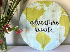 Globe Quote Pallet Sign // Adventure Awaits Artwork // Wood Pallet Signs // Dorm Decor // Travel Decor // Travel Signs // Map Decor by PalletsWithATwistCo on Etsy https://www.etsy.com/listing/463670651/globe-quote-pallet-sign-adventure-awaits