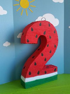 Watermelon Number Pinata. Measures 24 inches tall, 17 inches wide, 4 inches deep. Other numbers or letter also available. If you cant find the design or character you are looking for, please let me know, I will be happy to help you create what you need for your party.