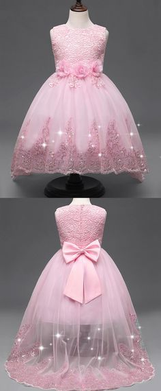 In Stock Dazzling Lace & Tulle Jewel Neckline Ball Gown Flower Girl Dresses With Handmade Flowers