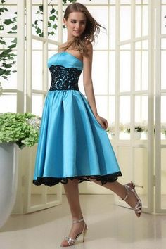 Colorful Sleeveless Tea-Length Cheap Blue Bridesmaid Dresses UK 2015