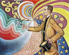 Retrato de Félix Feneón, Signac 1890. Pintura perteneciente al Puntillismo, cuya técnica consiste en pequeños puntos de colores que crean un efecto óptico, lo que supuso una revolución artística. La supremacía del color sobre la luz y la falta de expontaneidad también son cualidades que rompen con el impresionismo y que podemos ver en la obra de Signac, que no fue pionero en la técnica pero aporta ceatividad e imaginación, los colores y formas de este cuadro parecen tener movilidad.