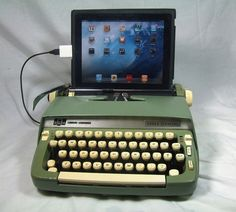 Practical idea! Love old typewriters especially the pastel ones from the 1950s and 1960s. USB Typewriter converts old typewriters to work as computer keyboards for a PC, Mac and iPad.