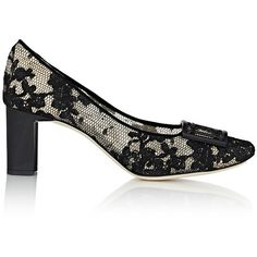 Giorgio Armani Buckle-Embellished Lace Pumps (12.960 ARS) ❤ liked on Polyvore featuring shoes, pumps, black, floral pumps, black pumps, leather sole shoes, lace pumps and lace shoes