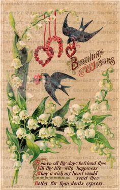 Vintage Ansichtskarte Zum Geburtstag zum direkten digitalen download von arteaustria auf Etsy