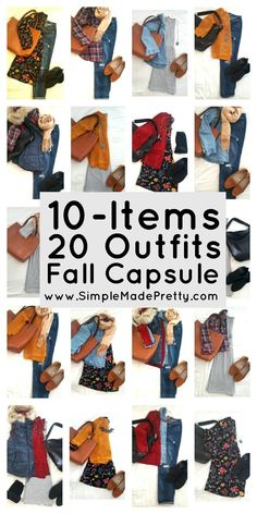 10 items 20 outfits fall capsule, Fall wardrobe capsule, Fall clothes, Fall outfits