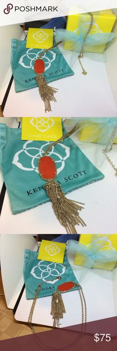 "AUTH KENDRA SCOTT GOLD ORANGE RED RAYNE NECKLACE AUTHENTIC KENDRA SCOTT BRIGHT ORANGE RED COLOR STONE PENDANT WITH 5.5"" drop and lobster closure with 29.5-31.5"" adjustable chain. Comes with Kendra Scott bag and care card. Like new with no flaws. Kendra Scott Jewelry Necklaces"