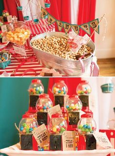 Love the red mini gum ball machines as party favour instead of the traditional lolly bag