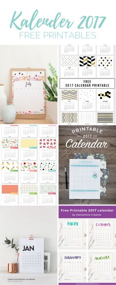 The most beautiful calendar for 2017 for printing Free Printable Gift Tags, Printable Planner, Free Printables, Bullet Journal Diy, Diy Wand, Iris Folding, Craft Materials, Papers Co, Free Prints