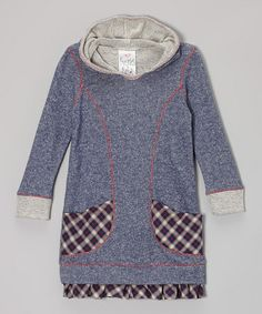 Take a look at this Navy Plaid Pocket Hoodie Dress - Toddler & Girls by Freckles + Kitty on #zulily today!