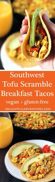 Make something different for breakfast by trying out these vegan Southwest Tofu Scramble Breakfast Tacos filled with veggies and spicy flavour!