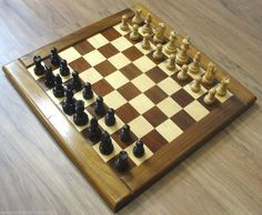 """Chess Board Set David Levy CA Exotic Wood 20"""" with Carved Token Pieces Pawns #DavidLevy"""