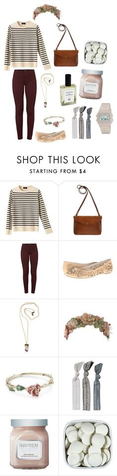 """""""Untitled #727"""" by hotlinejenn ❤ liked on Polyvore featuring A.P.C., Mimi Berry, J Brand, AERIN, Peggy Li, Her Curious Nature, Disney Couture, Acqua di Parma, Emi-Jay and Laura Mercier"""