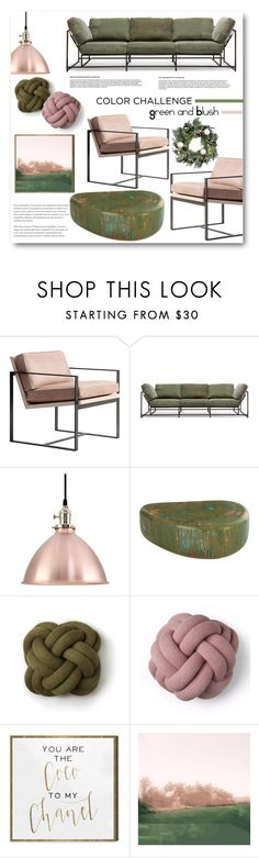 """Color Challenge: Green and Blush"" by anitadz ❤ liked on Polyvore featuring interior, interiors, interior design, home, home decor, interior decorating, Redford House, Stephen Kenn, Design House Stockholm and Oliver Gal Artist Co."