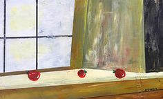 """""""Apples at Sink,"""" acrylic on wood panel."""
