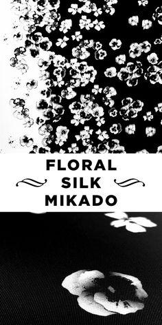 Black and White Photorealistic Pansy Printed Silk Mikado Panel