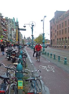Beautiful bike lane in Amsterdam, but dangerous for pedestrians crossing to cars or buses on the road....