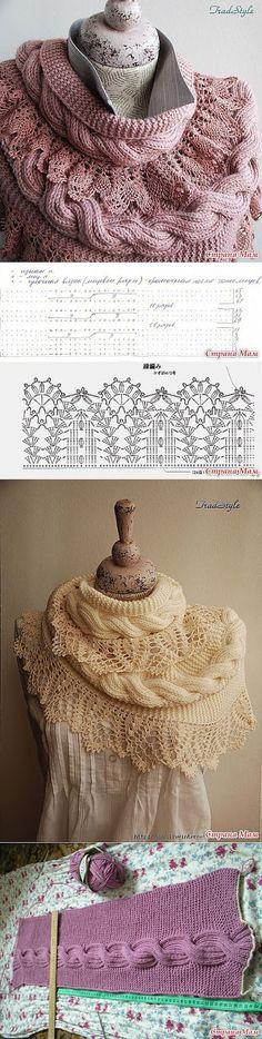 Crochê Tricô - Gráficos: Linda Echarpe/Cachecol em Tricô e Crochê