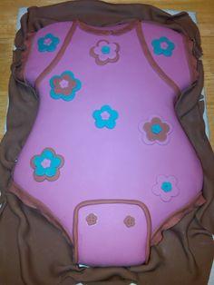 Onesie baby shower cake. Fondant