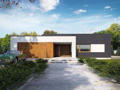 Projekt domu parterowego Artus o pow. 136,81 m2 z obszernym garażem, z dachem płaskim, z tarasem, sprawdź! Minimal House Design, Modern Small House Design, Contemporary House Plans, House Front Design, Modern House Facades, Modern Bungalow House, Flat Roof Design, Facade Design, New House Plans