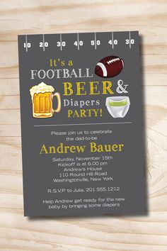 Beer and Babies Invitation | FOOTBALL BEER & Diapers bbq, beer and babies Diaper Party Invitation ...