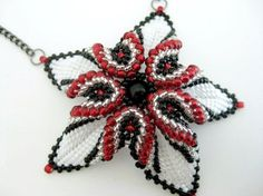 Beadwork Desert Rose Necklace Black Red White Peyote Seed Beads 3D Beadwoven