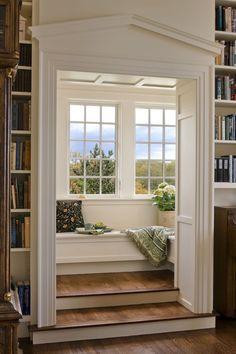 "georgianadesign: "" Rocksyde reading nook, New England coast. Albert, Righter & Tittmann Architects. rincon de lectura """
