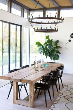 Dining room furniture ideas that are going to be one of the best dining room design sets of the year! Get inspired by these dining room lighting and furniture ideas! Dining Room Design, Dining Area, Large Dining Room Table, Large Table, Minimalist Dining Room, Wooden Dining Tables, Rustic Table And Chairs, Concrete Dining Table, Dining Table Chairs