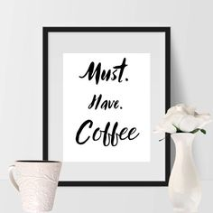Looking for unique kitchen decor? This printable kitchen coffee sign is perfect for transforming your walls from boring to wow. Looking for a last minute gift idea? This coffee art print would be perfect, just download, print on card stock and frame. Mornings are rough, and this print along with your morning coffee will perk you up in no time at all.