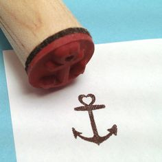Heart Anchor Rubber Stamp  by RADstamps