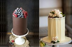 chocolate cake decorating double barrel chocolate cakes by Made by Mary left and via Tumblr right