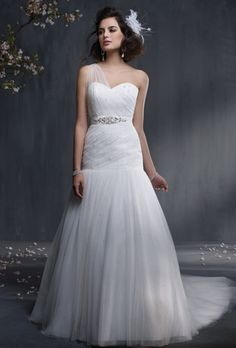 Alfred Angelo. Sweetheart neckline with illusion style one shoulder strap with floor-length trumpet skirt $$