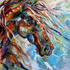 Texas Contemporary Fine Artist Laurie Pace: Abstract Horse Paintings, Indian Paint Pony by Texas Artist Laurie Pace
