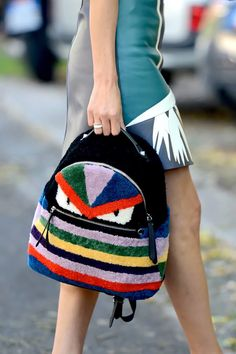 See how #streetstyle rocked the shows in Milan. Fendi backpack
