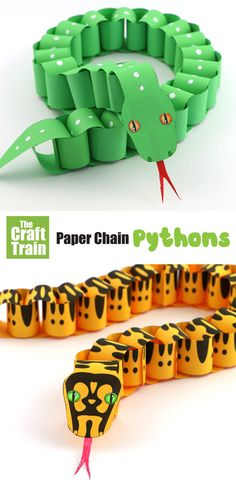 Create realistic looking paper pythons with this printable paper chain snake template. There is a jungle carpet python, a green tree python and a design-your-own python to choose from # # art design landspacing to plant Animal Crafts For Kids, Summer Crafts For Kids, Paper Crafts For Kids, Diy For Kids, Diy Paper Crafts, Craft Activities, Preschool Crafts, Boy Diy Crafts, Boy Craft