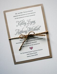 Elegant rustic wedding invitations hand-painted heart with watercolor paint. | www.mospensstudio.com