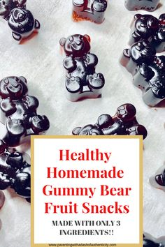 Heres is an easy homemade gummy bear recipe that can be made in 20 minutes. These gummy bears are the perfect on the go snack for anyone especially kids and are perfect to make on a weeknight! #gummybears #healthy #dessert #snack #parentingwithadashofauthenticity