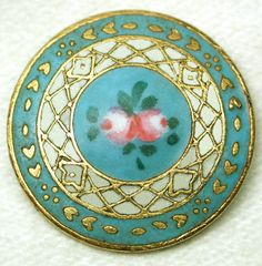 Antique French Enamel Button Turquoise Matte w/ Hand Painted Pink Roses Cool Buttons, How To Make Buttons, Vintage Buttons, Art Nouveau Jewelry, Beaded Brooch, Button Art, Antique Lace, Sewing A Button, Hand Painted