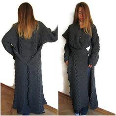 Long grey cardigan maxi cardiganknit cardigan sweater by aysev