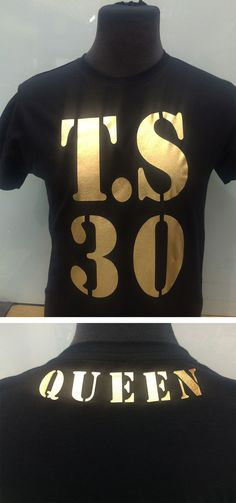 Make yourself look like a #queen or a #king with a gold foil print. This customer was celebrating a 30th #birthday and feels like a queen in a special #personalised #tshirt.  #customprint #customprinting #customprintedshirts #savagelondon #foil #goldfoil #foilprint #queen #queenprint #tshirt #tshirtprinting #personalisedtshirt The Fl, Gold Foil Print, Custom Printed Shirts, Queen, 30th Birthday, Colour Images, Slogan, Feels, King