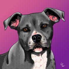 American Pit Bull Pop Art Print Original Dog Art by PopDogDesigns, $20.00