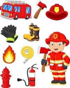 Community Helpers Preschool Discover Cartoon collection of fire equipment - Millions of Creative Stock Photos Vectors Videos and Music Files For Your Inspiration and Projects. Community Helpers Worksheets, Community Helpers Preschool, Fire Prevention Week, Fireman Sam, Fireman Party, Firefighter Birthday, Fire Equipment, Fire Safety, Kids Education