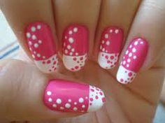 Pink nails with white French tip and pink and white polka dots