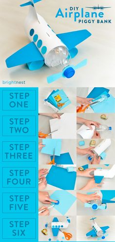 This DIY plane piggy bank soars with such coolness that your kids will be begging to save those pretty pennies of yours :-) fun kids crafts, kid ideas, kids diy ideas diy and crafts For Kids: Make a Unique Piggy Bank out of a Plastic Bottle Recycling Projects For Kids, Fun Crafts For Kids, Diy For Kids, Craft Projects, Easy Crafts, Project For Kids, Recycling Ideas, Recycled Crafts For Kids, Recycle Crafts